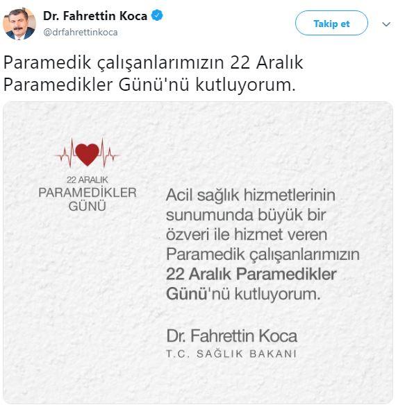 Paramedikler,Günlerinde Sağlık Bakanı Fahrettin KOCA'ya Çağrıda Bulundu