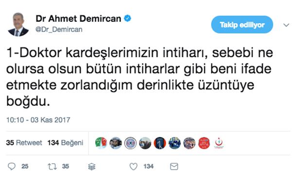 Sağlık Bakanından intihar eden hekimlerle ilgili Twit