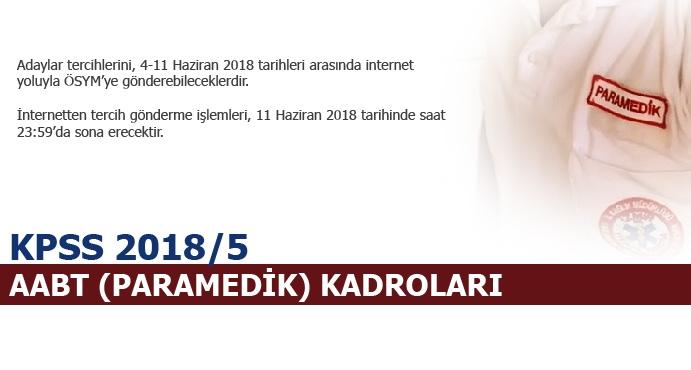 KPSS 2018/5 AABT (Paramedik) Kadroları