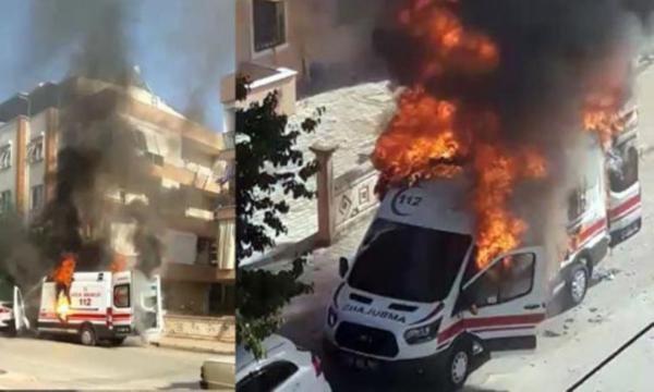112 Ambulansı Alev Aldı!