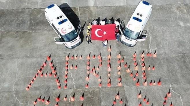 112 Çalışanlarından 'Afrin'e Selam'