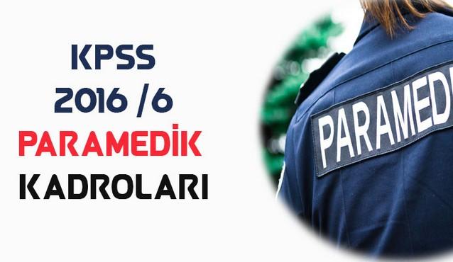 2016/6 KPSS Paramedik Kadroları (İllere Göre Dağılım)