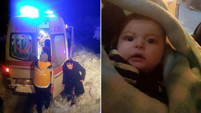 Sağlık ekipleri yoğun kar nedeniyle hasta bebeğe 7 saatte ulaşabildi