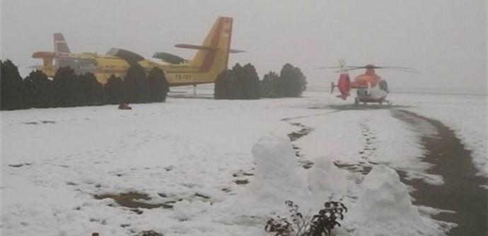 Ambulans helikopteri mahsur kaldı