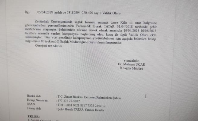 """Afrin Şehidimiz """"Burak Tatar"""" için Yardım Kampanyası"""
