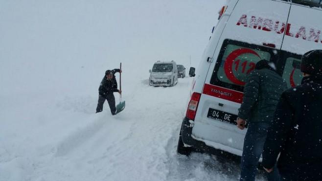 Ağrı'da Hasta Taşıyan Ambulans Kara Saplandı