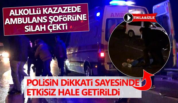 Olay Yerinde Ambulans Sürücüsüne Silah Çekti