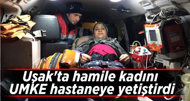 Uşak'ta yolu kapanan mahalledeki hamile kadın kurtarıldı