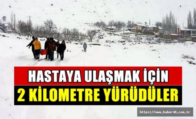 Yoğun kar yağışında hastaya ulaşım: Sağlık ekipleri 2 kilometre yürüdü