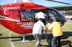 Minik Melike'yi hastaneye ambulans helikopter yetiştirdi