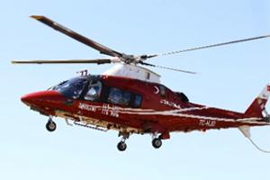 Hamile kadını 112 Acil Servis'e ait helikopter hastaneye yetiştirdi
