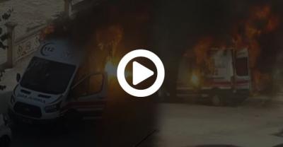 112 Ambulansı Alev Aldı,Sağlık Personeli Hastayı Alevler İçinden Kurtardı