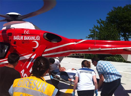 Giresun'un ilk Ambulans Helikopteri Hizmete Girdi