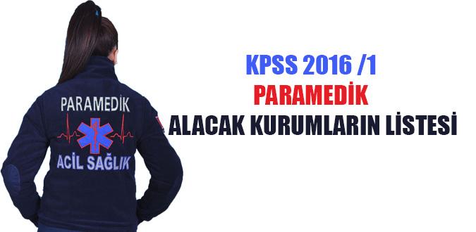 KPSS 2016/1 Paramedik Kadroları