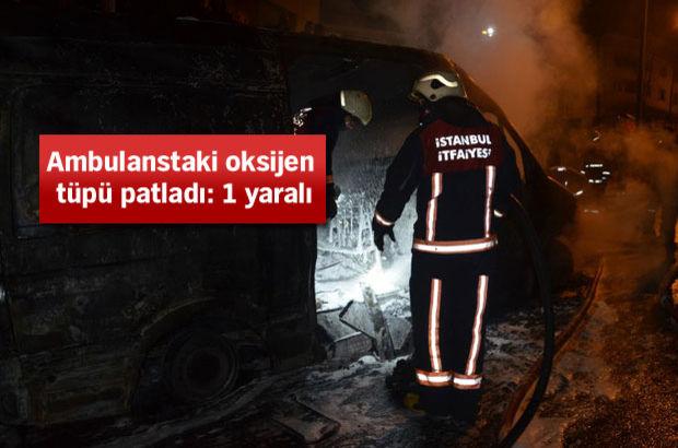 112 Acil Servis ambulansında patlama!