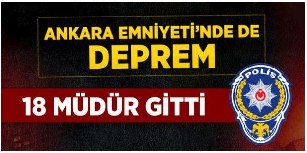 Ankara'da 18 Polis Müdürü Görevden Alındı