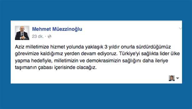 Müezzinoğlu ilk mesajını Facebook ve Twitter'dan verdi