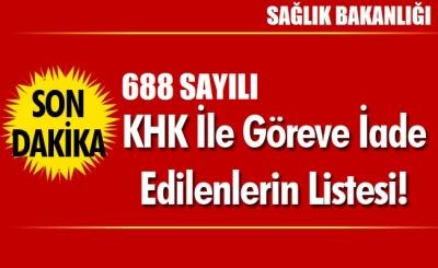 688 sayılı KHK ile göreve iade edilenlerin listesi (Sağlık Bakanlığı)