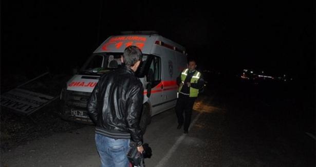 Ambulans eşeğe çarptı!