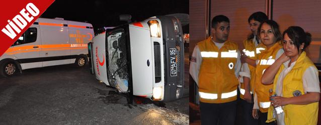 Acil Tıp Teknisyeninin kullandığı Ambulans Kaza Yaptı