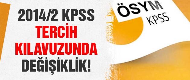 2014/2 KPSS tercih kılavuzunda değişiklik yapıldı!