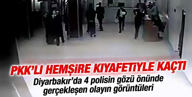 PKK'lının Hemşire Formasıyla  hastaneden kaçış görüntüleri