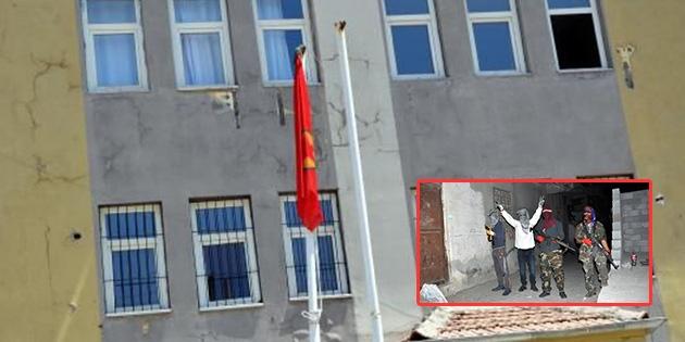 Sağlık merkezindeki Türk bayrağını indirip PKK flaması astılar