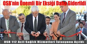 Karaman Osb'ye 112 Acil Sağlık Hizmetleri İstasyonu Açıldı