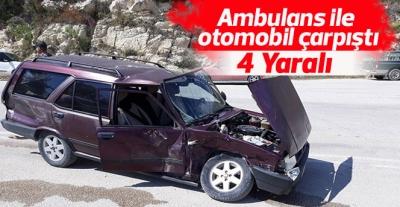 Ambulans otomobille çarpıştı: 1'i ağır 4 yaralı