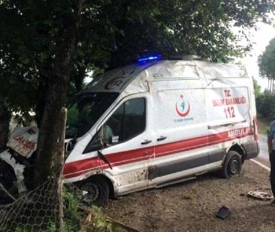 Ambulans,Yol Kenarındaki Ağaçlara Çarptı: 5 Yaralı