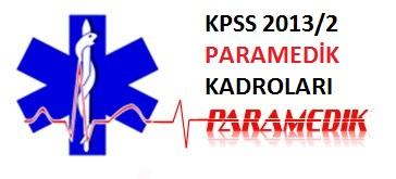 KPSS 2013/2 Paramedik (AABT) Kadroları