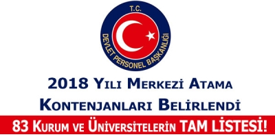 Devlet Personel Başkanlığı 2018 Yılı Merkezi Memur Atama Kontenjanlarını Yayımladı