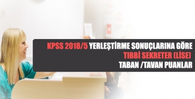 KPSS 2018/5 Tıbbi Sekreter  (Lise) Taban/Tavan Puanlar