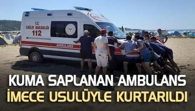 Kuma saplanan ambulans imece usulüyle kurtarıldı