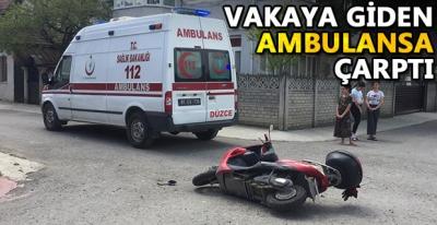 Motosiklet Ambulans'a Çarptı