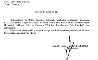 Sağlık Bakanlığı Tarafından Türk Silahlı Kuvvetlerine Sunulacak Sağlık Hizmetlerine Dair Protokol