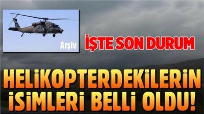 Tunceli'de düşen helikopterdekilerin isimleri belli oldu!