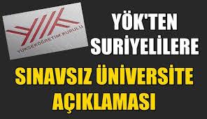 YÖK'ten Suriyelilere Sınavsız Üniversite Açıklaması