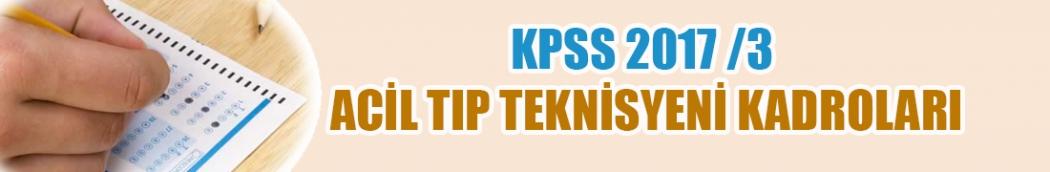2017/3 Acil Tıp Teknisyeni (ATT) Kadroları