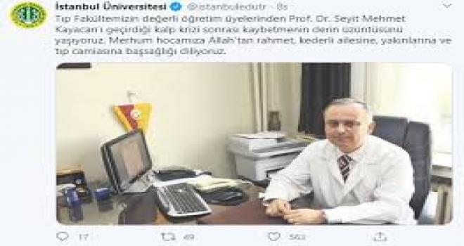 Çapa Tıp Fakültesi Profesörü Hayatını Kaybetti