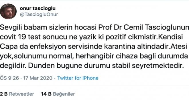 Çapa Dahiliye Hocası Prof. Dr. Cemil Taşcıoğlu'nun Kovid-19 Testi Pozitif Çıktı