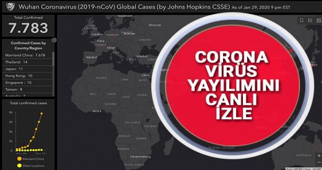 Coronavirüs Yayılım Haritasını Canlı Olarak İzleyebilirsiniz.