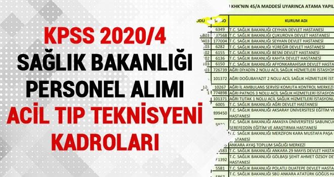 KPSS-2020/4 İle 303 ATT (Acil Tıp Teknisyeni) Alınacak! İşte Kadrolar