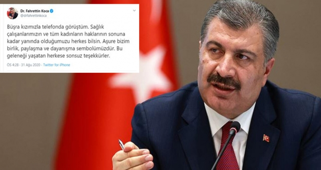 Büşra Hemşireye Sağlık Bakanı Koca'dan Destek