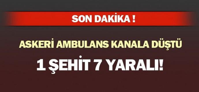 Kayseri'de Ambulans Kanala uçtu, 1 şehit var !