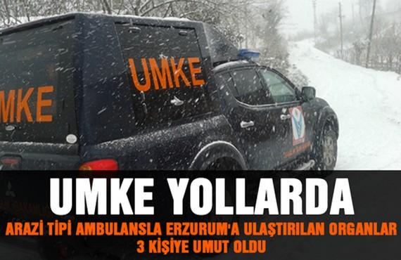 Arazi Tipi Ambulansla Erzurum'a Ulaştırılan Organlar 3 Kişiye Umut Oldu