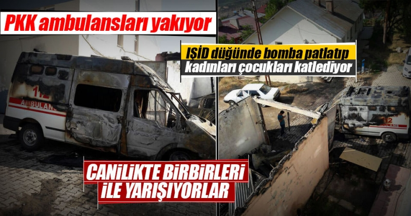 PKK'lı teröristler Tunceli'de ambulans yaktı